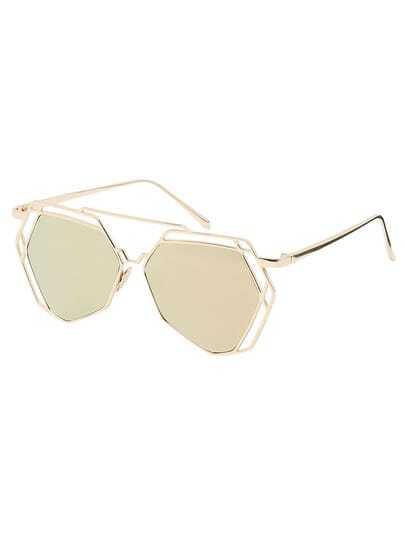 Golden Metal Frame Hollow Sunglasses