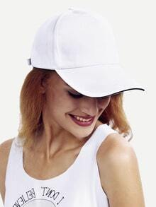 White Basic Cotton Baseball Hat -SheIn(Sheinside)