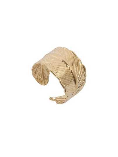 Golden Retro Leaf-shaped Ring