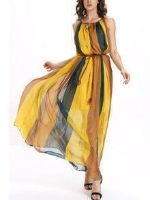 Color Block Belted Keyhole Drawstring Neck Dress