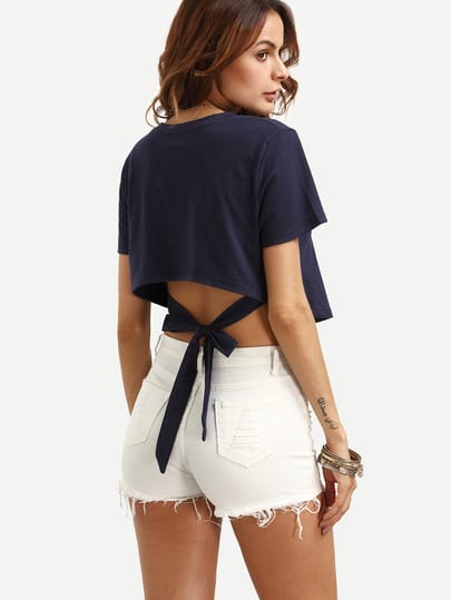 Self Tie Asymmetrical Trim Crop Top