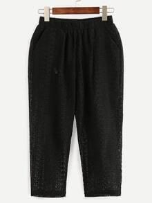 Black Elastic Waist Hollow Out Lace Pants