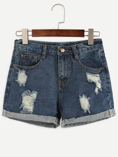 Blue Distressed Roll Hem Denim Shorts