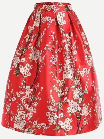 Red Cherry Blossom Print Box Pleated Skirt