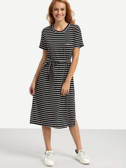 Belted Black White Striped Tee Dress
