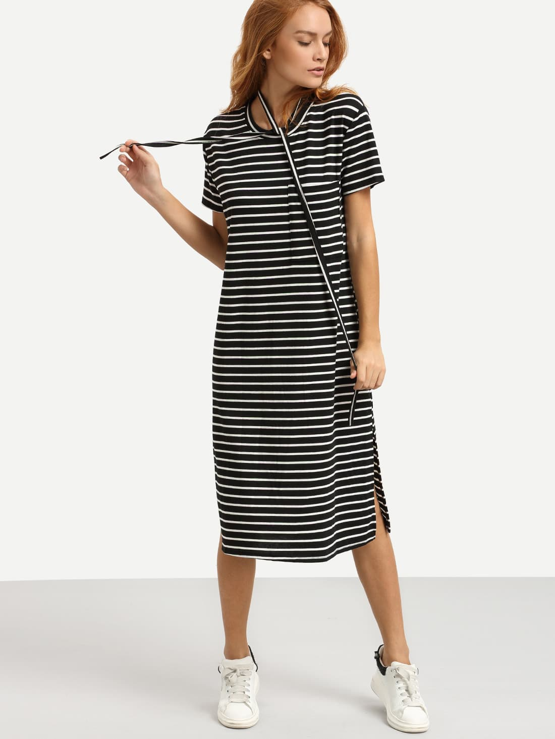 belted black white striped tee dress shein sheinside. Black Bedroom Furniture Sets. Home Design Ideas