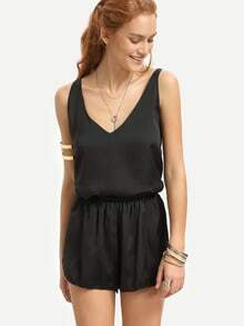 Black V Neck Tank Top With Elastic Waist Shorts