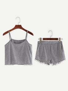 Pompom Trim Crop Cami Top With Shorts