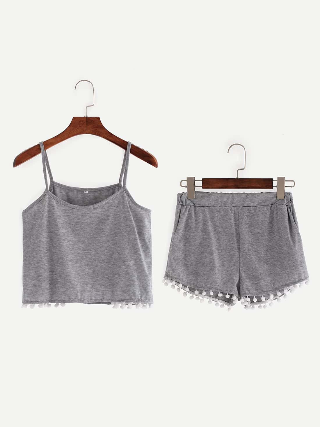 Pompom Trim Crop Cami Top With Shorts crop cami top with lace up shorts