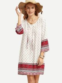 White Tie Neck Paisley Print Tunic Dress
