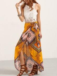 Multicolor Print Bow Split Skirt