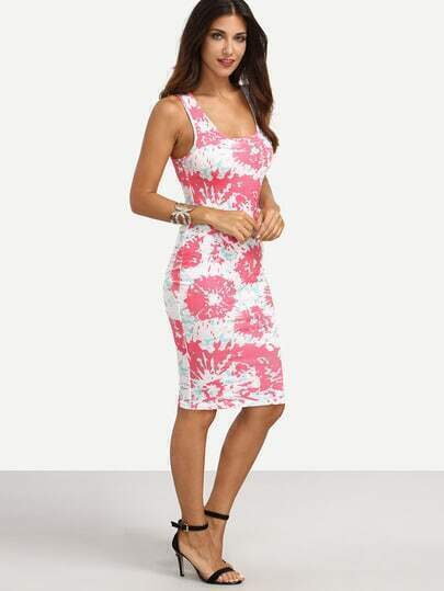 Multicolor Print Scoop Neck Sleeveless Sheath Dress