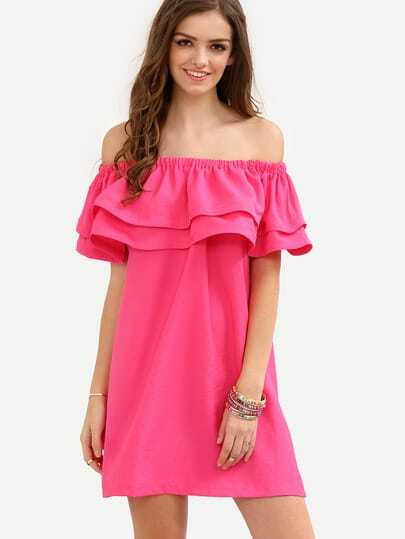 Hot Pink Off The Shoulder Ruffle Shift Dress