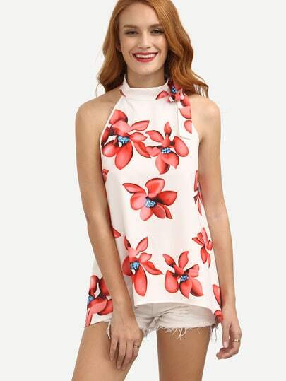 Florals Mock Neck Bow Detail Blouse