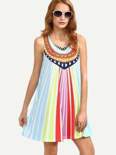 Multicolor Striped Print Sleeveless Shift Dress