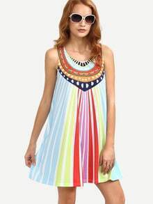 Multicolor Striped Print Sleeveless Shift Dress