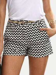 Pantalones cortos estilo casual con bolsillo - negro y blanco