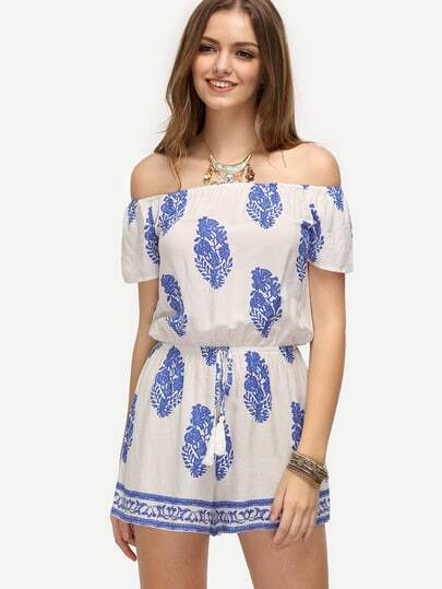 Blue Print in White Off The Shoulder Jumpsuit