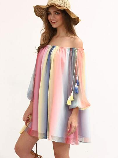 Multicolor Print Off The Shoulder Tassel Shift Dress