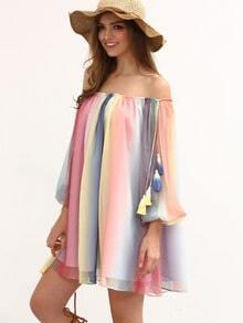 Multicolor Print Off The Shoulder Tassel Shift Dress