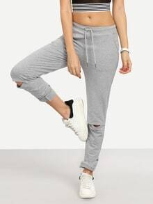 Grey Casual Tie Waist Ripped Pants