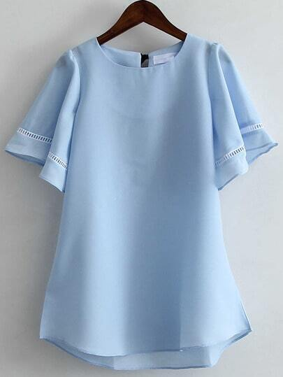 Blue Ruffle Sleeve Bow High Low Blouse