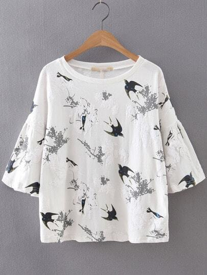 White Bell Sleeve Swallow Printed Blouse