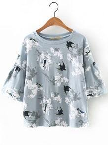 Grey Bell Sleeve Swallow Printed Blouse