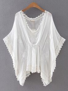 White Batwing Sleeve Embroidery Blouse