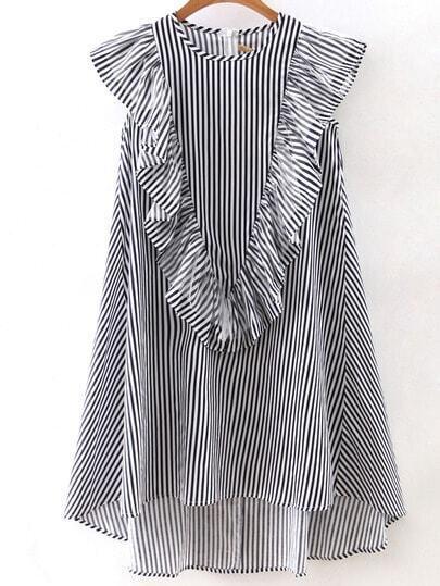 Vertical Striped Sleeveless Ruffle Dipped Hem Zipper Dress