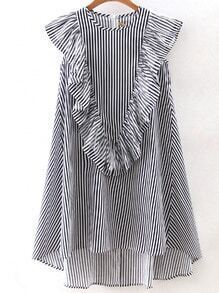 Vertical Striped Sleeveless Ruffle Dipped Hem Zipper Dress