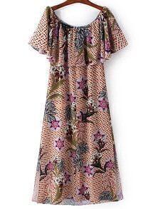 Multicolor Boat Neck Ruffle Floral Chiffon Dress