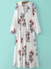 White V Neck Floral Lapel Chiffon Dress