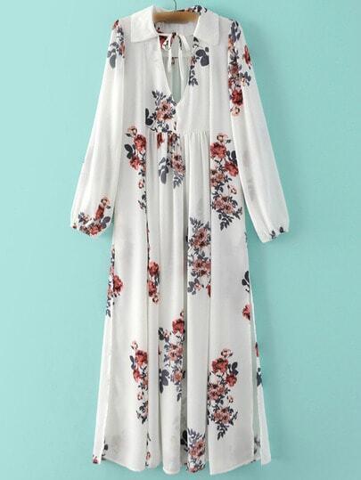 Белое шифоновое платье с цветочным принтом