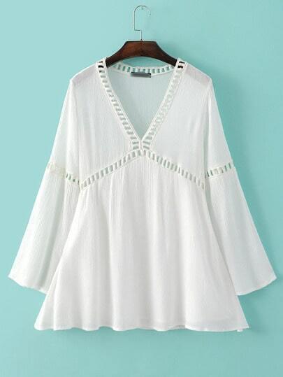 White Long Sleeve V Neck Hollow Panel Dress