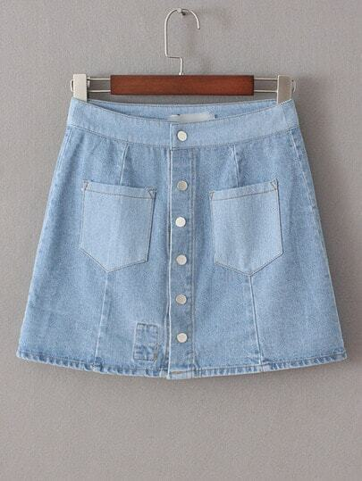 Синяя джинсовая юбка с цветочным принтом