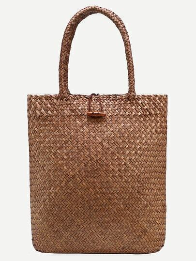 Brown Button Closure Straw Tote Bag