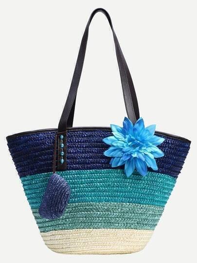 Blue Ombre Flower Embellished Straw Shopper Bag