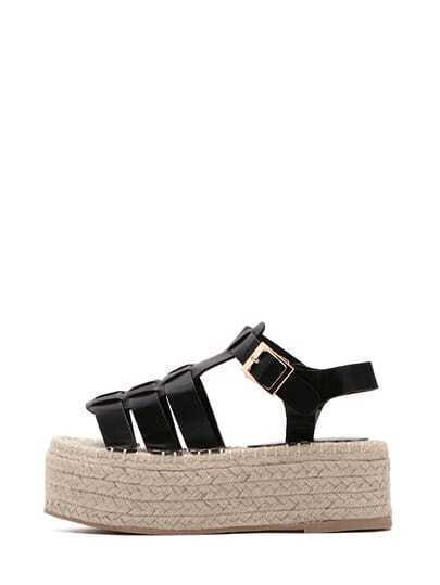 Black Peep Toe Buckle Strap Platform Sandals