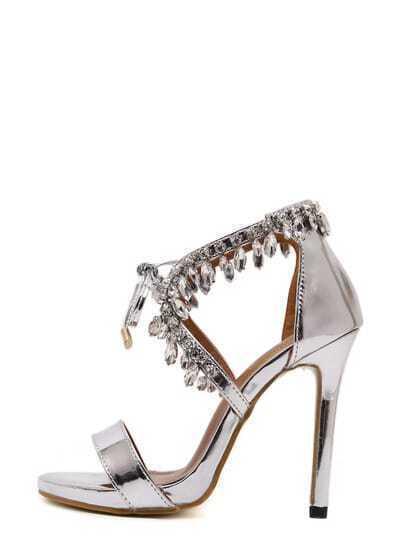 Silver Peep Toe Diamond Stiletto Sandals