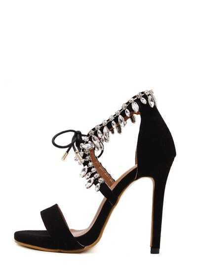 Black Peep Toe Diamond Stiletto Heels