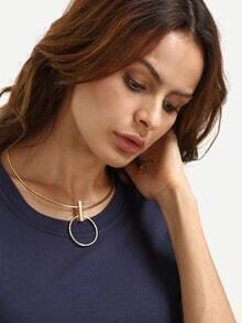 Golden Geometrical Pendant Necklace