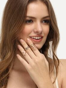 Set anillo en forma V dorado -3pcs