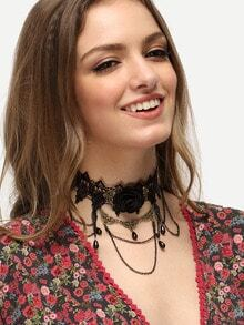 Black Gemstone Metal Lace Necklace