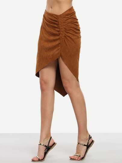 Brown Faux Suede Shirred Asymmetric Skirt