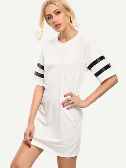 White Varsity Striped Sleeve T-shirt Dress