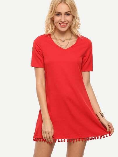 Red V Neck Pom Pom Trimmed Shift Dress