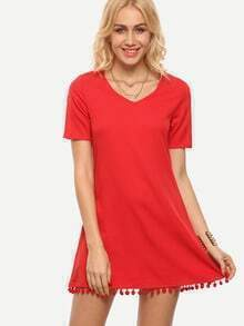 Red V Neck Pom Pom Trimmed Shift Dress