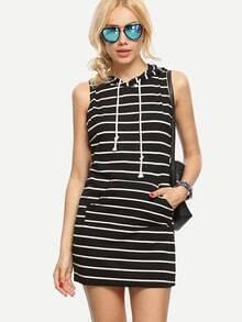 Black White Striped Sleeveless Hooded Dress