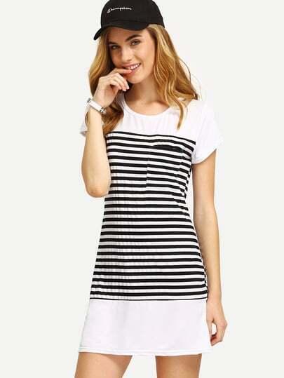 Black White Striped T-shirt Dress